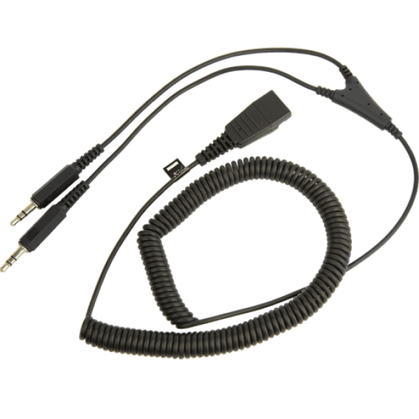 QD PC Cord to dual 3.5 mm Jack coiled cord